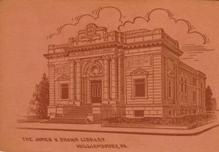 James V. Brown Library, Williamsport, PA, on a leather postcard