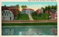 Riverfront view of Galena, IL and its Carnegie library. The postcard is a Curt Teich product.