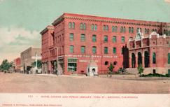 The Hotel Lorenz and the Carnegie library of Redding, California
