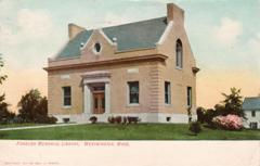 Forbush Memorial Library, Westminster, MA on a 1907 postcard