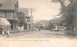 Vineyard Haven, Martha's Vineyard, MA public library, seen in location on a Rotograph postcard.
