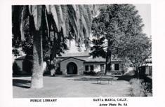 Santa Maria, CA public library on a photo postcard