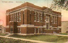 Hand-colored postcard of the Carnegie Library in Chillicothe, IL.