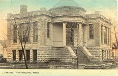 Worthington, MN Carnegie library on corner lot