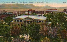 Bird's eye view of El Paso includes its Carnegie library, now demolished.