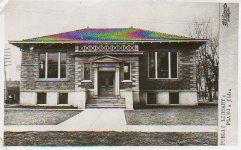 R.E. Lincoln photo postcard of the Plano, IL Carnegie library