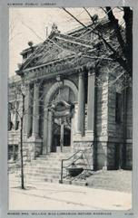Entrance of Elwood, IN Carnegie library. Card commemorates Wendell Wilkie's candidacy