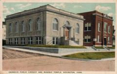 Heington, KS Carnegie library, with a Masonic temple in the background
