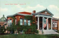 Lincoln, IL Carnegie library, displaying American flag