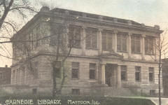 Tinted postcard of Mattoon, IL Carnegie library