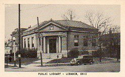 Lebanon, OH Carnegie library on corner lot with late 1930s car