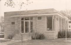 Photo postcard of Spring Green, WI's library.