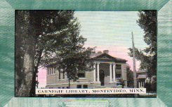 Self-framed postcard of the Montevideo, MN Carnegie library.