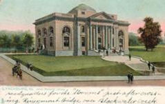 Entire-back Tuck postcard of Jones Memorial Library, built 1906 in Lynchburg, Virginia.