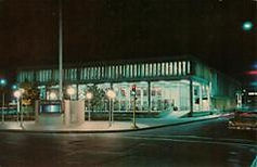 Salem Square Branch library, Worcester, MA, at night.