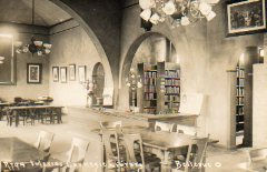 Interior of the Bellevue, Ohio Carnegie library. Date unknown, but appears to have been an open-stack library.