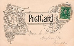 Entire reverse of an W.M. Waite postcard with 1901 Franklin stamp