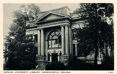 """Clear View"" brand postcard of DePauw University's Carnegie library."