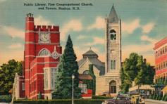Congregational Church in front of the Nashua, NH public library