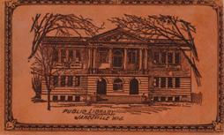 Background image: Janesville, WI Carnegie library on a leather postcard.