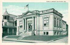 Curt Teich image of the Bluffton, Indiana Carnegie library
