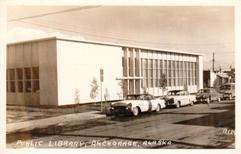 Anchorage, AK public library, on photo postcard.