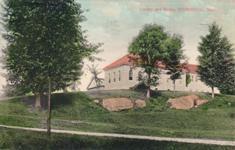 Sturbridge, MA public library amid rocks