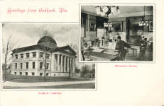 The reading room of Oshkosh Public Library, and its exterior