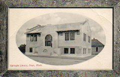 Self-framed postcard image of the Pasco, WA Carnegie library
