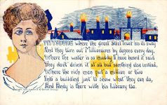 1907 postcard of Pittsburgh, a homely woman, and a poke at Carnegie