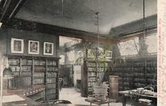 Interior of Monroe, WI's Ludlow library on an early E.C. Kropp with entire back.