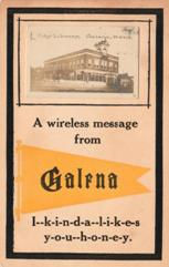 "Galena, KS library with ""A wireless message from Galena"" and I kinda likes you honey, separated by hyphens"