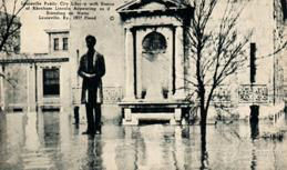 Louisville Public City Library with Statue of Abraham Lincoln Appearing as if Standing on Water. Louisville, Ky., 1937 Flood.