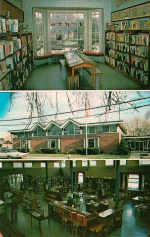 Multiview postcard of 2 interior scenes, sandwiching the mid-century Oceanside, NY library building