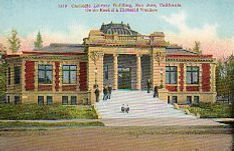 San Jose Carnegie library postcard also advertises the Southern Pacific Railroad.