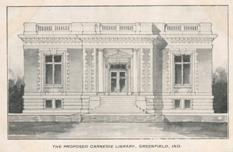 The proposed Carnegie library, Greenfield, IN. Line drawing on postcard