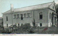 Side view of Edgerton, WI Carnegie library