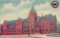 Booster postcard of the Buffalo (NY) public library