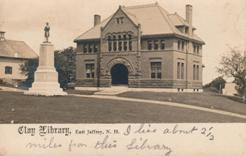 Clay Library, E. Jaffrey, NH, also showing statue on plinth