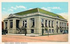 Hibbing, MN Carnegie Library on a Curt Teich postcard. Demolished.