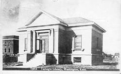 Damaged postcard of the Washington, KS Carnegie library building, by M.L. Kercher