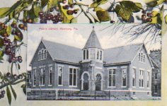Unusual Carnegie library postcard (Hamburg, PA) showing fruiting black cherry branches, and produced for a confectioner's.