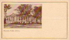 Pioneer Postcard of Carnegie library, Evanston, IL