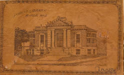 Leather postcard of the Ripon Carnegie Library. This style was a fad around the turn of the 20th Century.