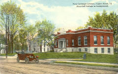 Early Curt Teich postcard of the Shurtleff College Carnegie library.