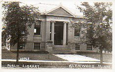 Photo postcard featuring the Glenwood, MN Carnegie library