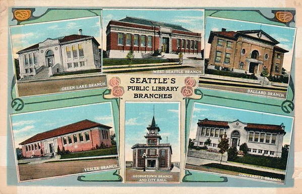 Clockwise: Green Lake Branch, West Seattle Branch, Ballard Branch, University Branch, Georgetown Branch & City Hall, and Yesler Branch
