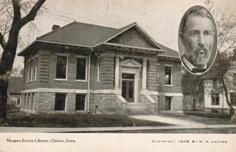 Morgan Everts public library, Clarion, IA, with oval portrait of a man.