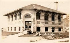 Lusk, WY Carnegie library, with photo taken by Bell in 1927.