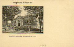 Greencastle, IN Carnegie library, mailed as a DePauw Souvenir